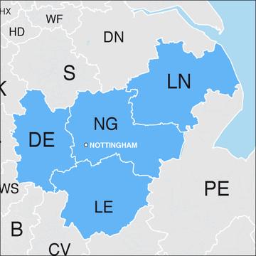 Nottingham area map